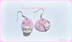 Kawaii tea earrings by Bojo-Bijoux