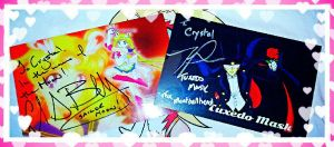 Sailor Moon and Tuxedo Mask Autographs by LadyAriessTemptra