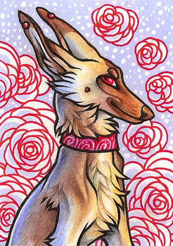 ACEO PeachesOfWar by CanisAlbus