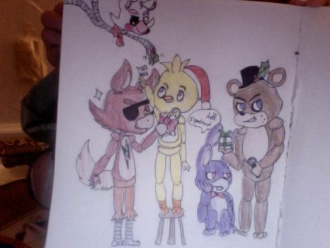 freddy and the gang colored (christmas 2014) by latiasgirl2002
