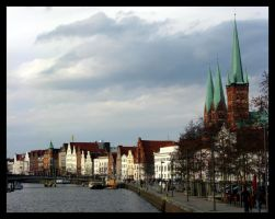 Luebecker Dom over the Trave by drakiross