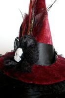 Crimson Cameo Witch Hat Side by teatimeinc