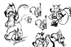 Squirrel Druid Sketches2 by ursulav