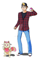 Pokemon Trainer and Fakemon (Commission) by RinLockhart