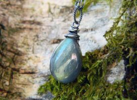 Light Blue-Green Labradorite Pendant by QuintessentialArts