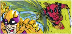 DEADPOOL vs BATROC 3 sketch card puzzle by mdavidct