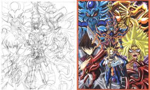 Yu-Gi-Oh! fan art sketch and color 02 by d13mon-studios
