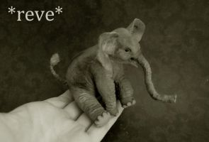 Baby Elephant Handmade Miniature Sculpture by ReveMiniatures