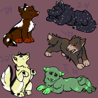 Free Dog Adoptables ALL TAKEN by Atummleaf-Adopts