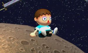 Giant Villager on Moon by rabbidlover01