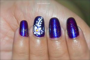 Purple and white flower Nail Art by Gorgeousnails