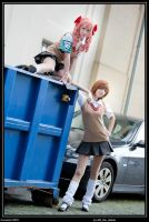 Misaka and Kuroko by white---butterfly
