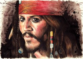 Johnny Depp as Captain Jack Sparrow by Drimr