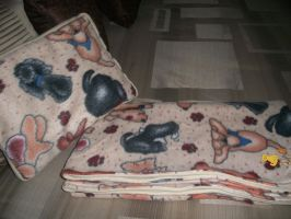 +Gone to the Dogs Blanket and Pillow Set-For Sale+ by Apple-Rings