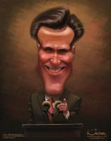 Caricature of M.Romney for election campaign. by creaturedesign