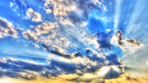 1366x768 Sun In The Clouds Wallpaper by JonathanHasenfus