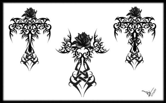 Gothic Tribal Rose Cross Tats by Quicksilverfury
