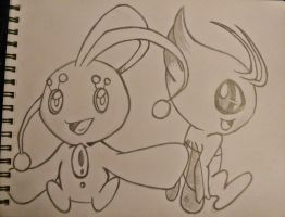 Manaphy And Celebi by october84stardust