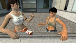 Chell experiments with her cigarette #19 by mikendee