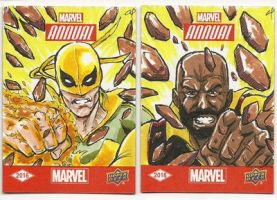 Upper Deck Power Man and Iron Fist Sketch Cards by aldoggartist2004