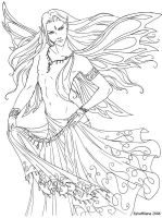 Male Faery in a Sari - LineArt by EsheMilana