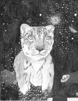 Arctic The Spacehead Snow Leopard - NOIR- by Nojo-on-the-rojo