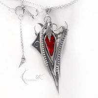 ASHVINEEL- silver and red quartz by LUNARIEEN
