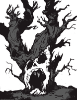 Scary Tree Sketch by WonderDookie
