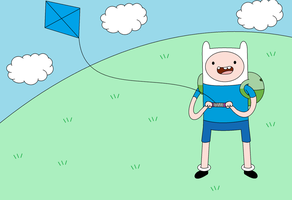 Adventure Time - Finn playing kite by terahfrancisco0207
