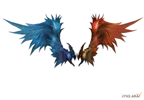 Wings - red-blue by Tiffli