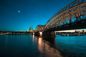 moon over cologne by Blubdi-Photography