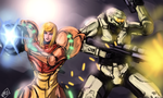 Samus Aran and John Spartan by Frost7