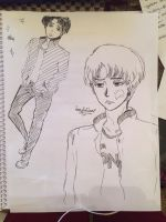 Study Break Sketch: Levi with earrings XD by SmexyLeviLover