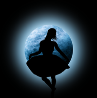 STOCK-Blue Moon with glow w/dancing girl by Viktoria-Lyn