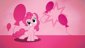 Pinkie Pie with baloons wallpaper minimalistic by Nidrax