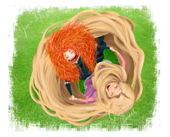 Merida and Rapunzel by chocoanillaberry