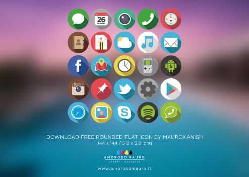 Flat Rounded Icons drawing by mauroxanish by mauroxanish