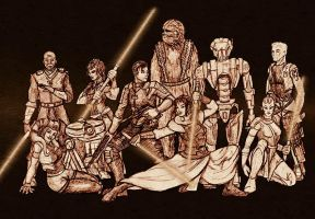 Star Wars: KOTOR gang sketch by freyah