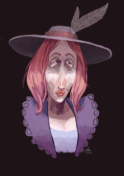 Pink Lady With A Hat by MythFish