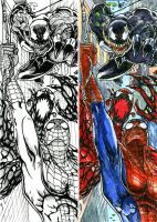 Spiderman vs Carnage and Venom by DKuang