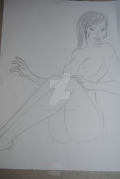 Drawing - Revolution - Woman on beach - 2st outcas by Daisymadness