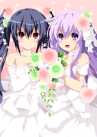 Noire and Nepgear Commission 1 Coloring by Planeptune