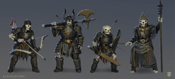 Skeleton character concepts by KJKallio
