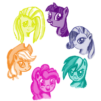 MLP: FiM - Mane6 - First Try by Hellbeholder