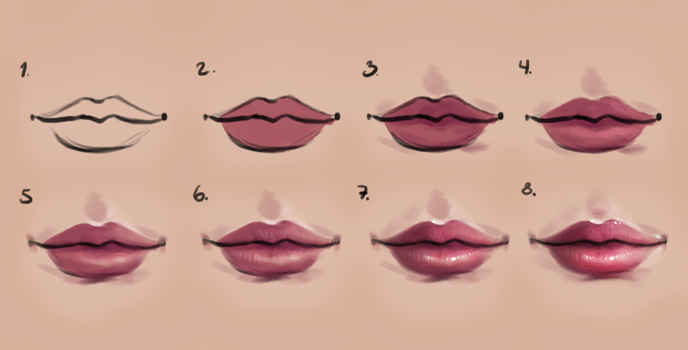 Semi-realism lips - step by step by Sandramalie