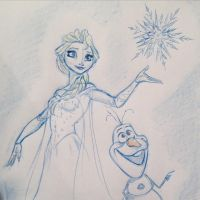 Elsa and Olaf by DanSchoening