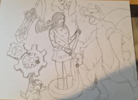 Allison and her Steel and Dragon Team - sketch by thnksfrthwilliam