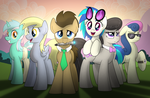 Background Mane 6 (at Sunset) by drawponies