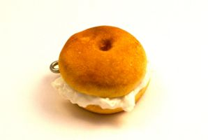 Polymer Clay Cream Cheese Bagel Charm by TooGoodToEat