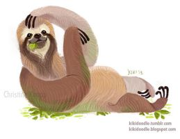Three Toed Sloth by kiki-doodle